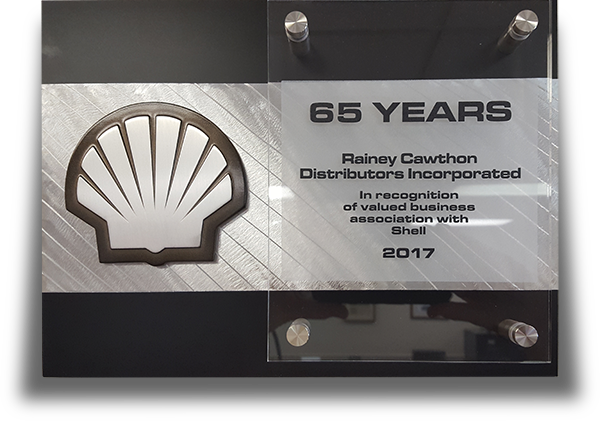 65 Years of Business with Shell plaque